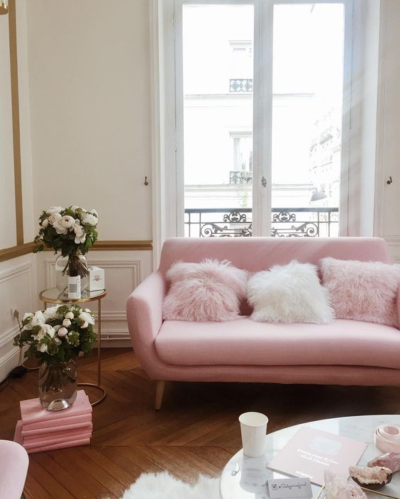 pink sofas gumtree sofa bed blackpool 16 chic blush how to style them gorgeous with fur pillows in parisian apartment