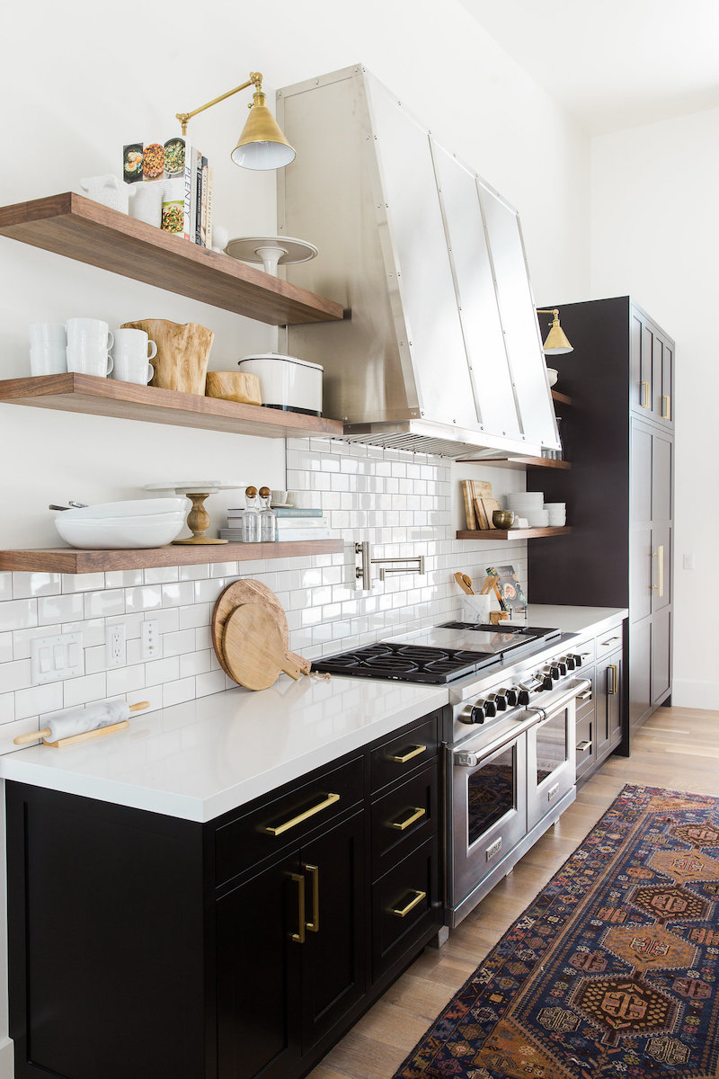 kitchen open shelves renovation costs 10 lovely kitchens with shelving black cabinets in wood via studio mcgee