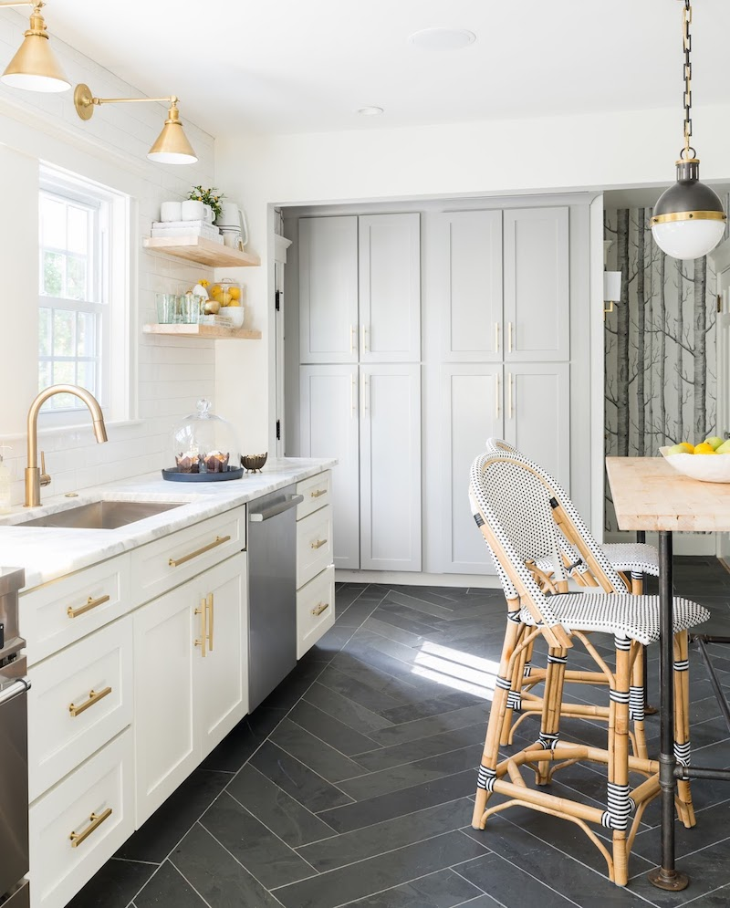 A Stunning Marble Kitchen With Gray Herringbone Floors