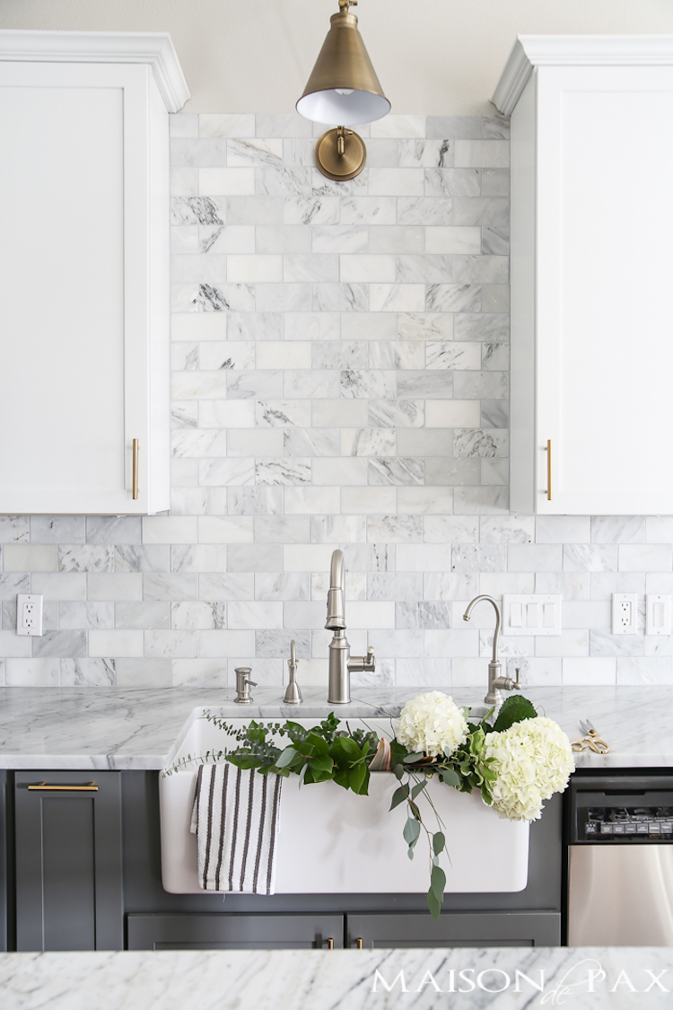 kitchen backslash wall faucets 14 white marble backsplash ideas you ll love gray and with tiled via maison de pax