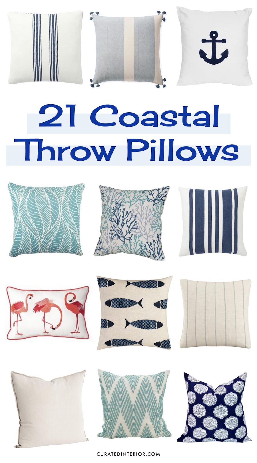 21 coastal throw pillows