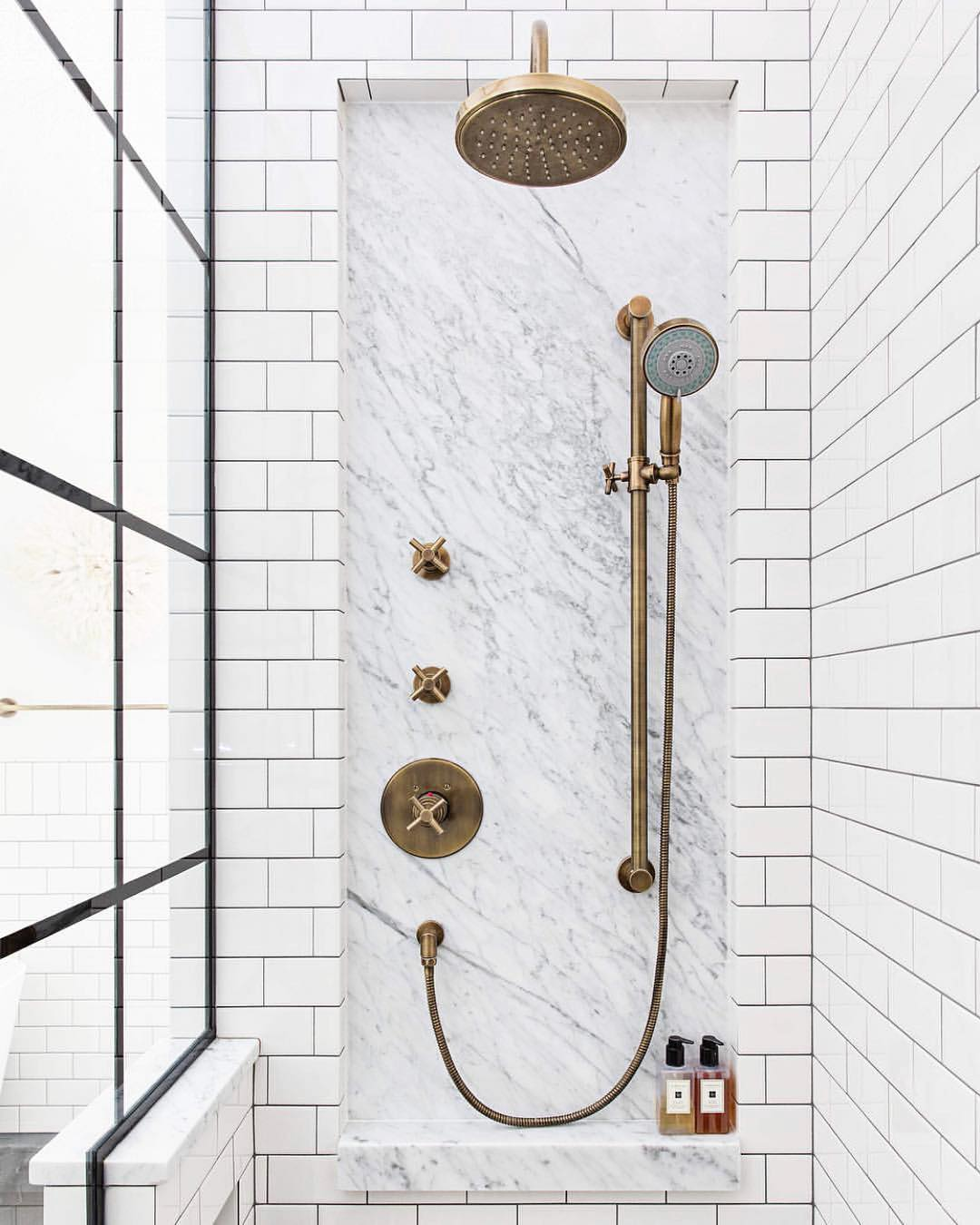 vintage style aged brass shower faucets