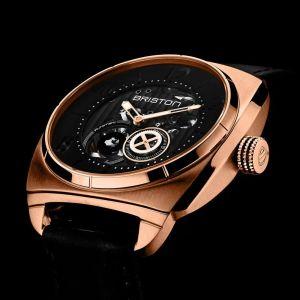 Briston Streamliner Skeleton Steel Gold Watch Black