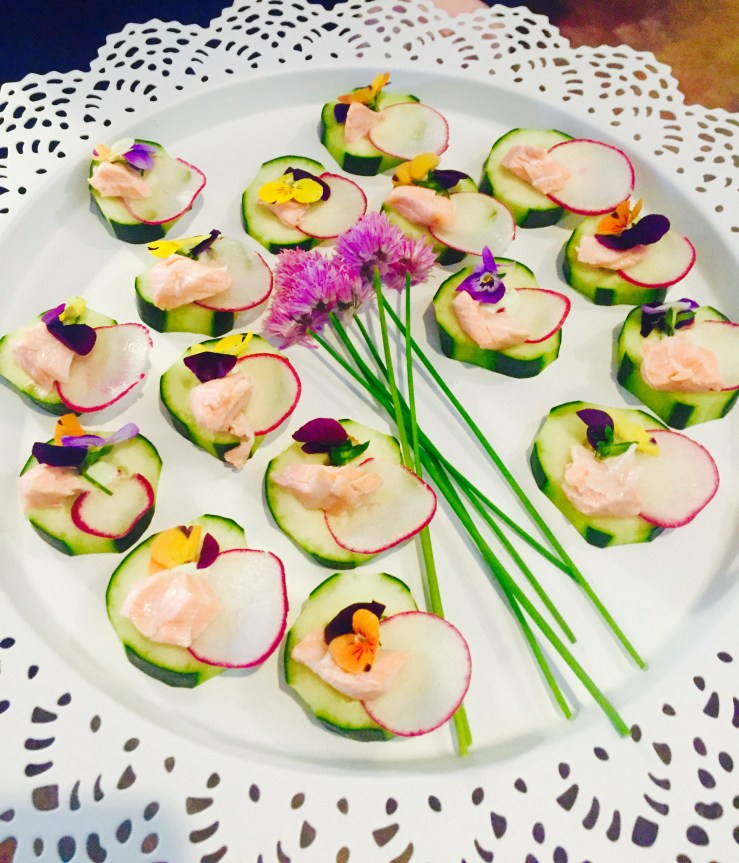 passed--cucumber-radish-salmon-bean-flowers_26910592530_o