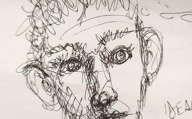 A human face, draft drawing by Massimo Curatella