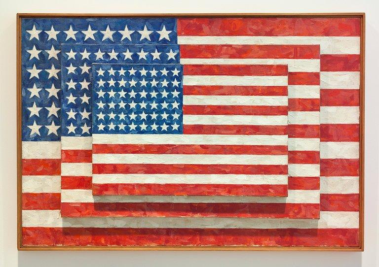 """Jasper Johns's """"Three Flags"""" (1958)"""