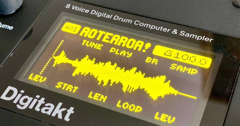 Digitakt display showing sound waves in yellow