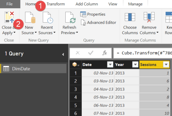 Close and apply query power bi