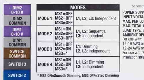small resolution of four modes allow for numerous configurations including dimming