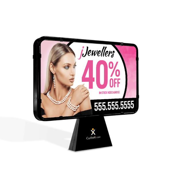 Curbex Pedestal with jewellery ad