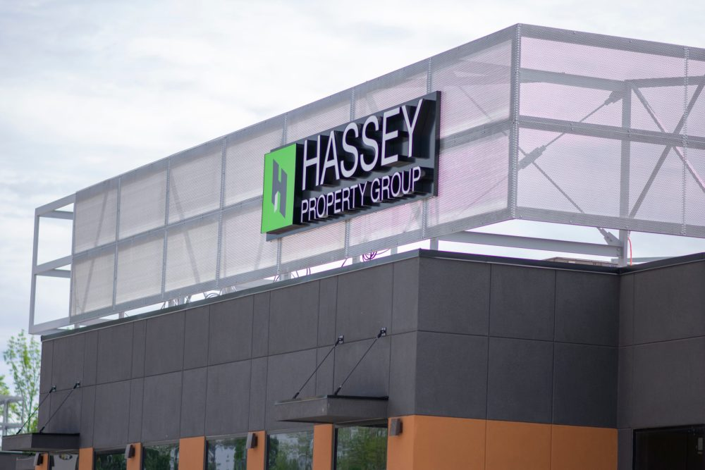 Channel Letter Hassey Building sign
