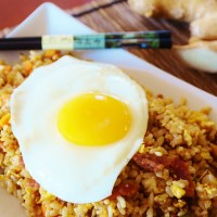 Bacon Fried Brown Rice with a Sunny Egg