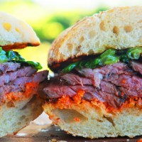 Sous-Vide Steak Sandwich with Romesco