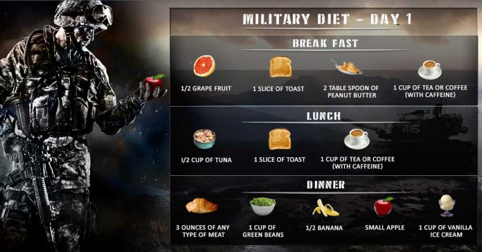 day 1 of 3 day military diet plan