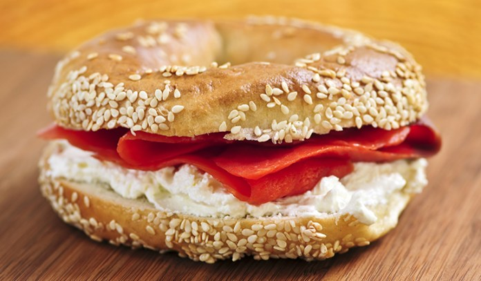 Bagel And Salmon With Cream Cheese