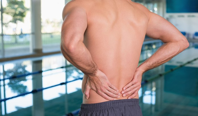 Lower back pain caused due to swimming