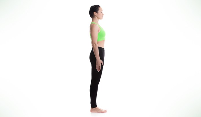 Mountain pose helps vertigo by grounding the body