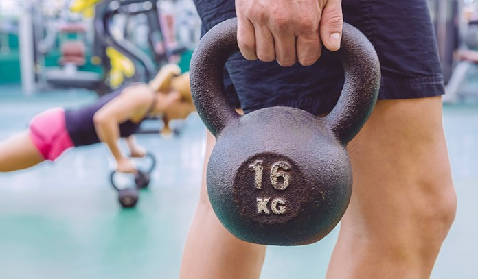 Start this exercise with comfortably weighted equipment