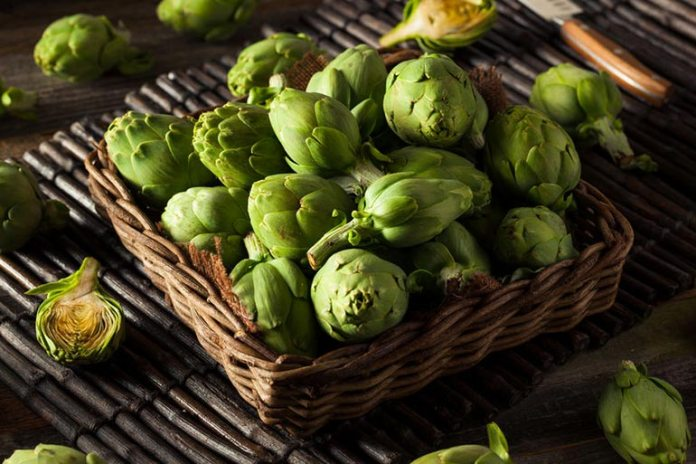 A single large artichoke contains only 76 calories and packs a decent share of the day's fiber.