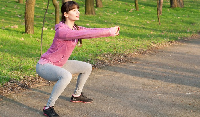 Squats work out your legs, abs, lower back and core