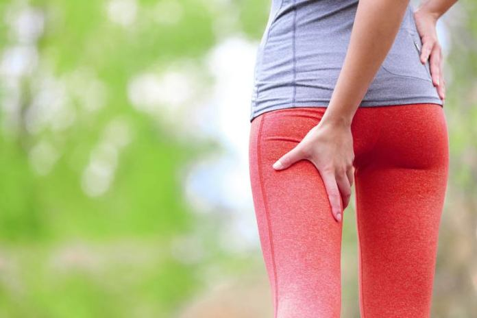 A strain in the hamstring muscles could cause hip pain