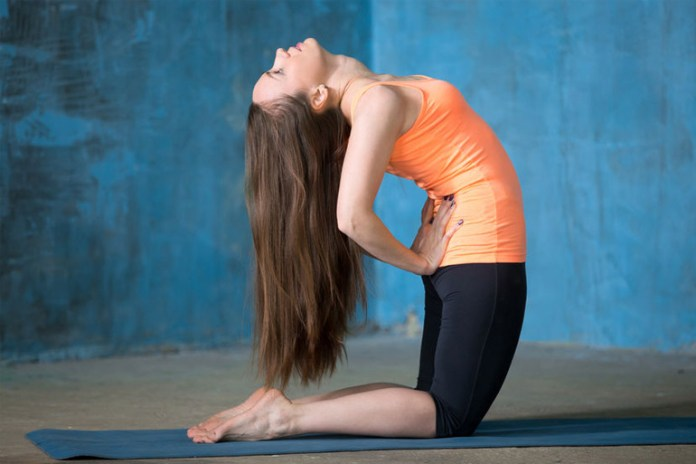 The camel pose helps relieve tight hips