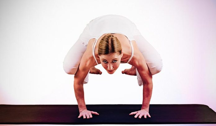 (While Bakasana is performed with straight arms, Kakasana is performed with bent arms