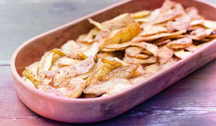 Bake Potato Peels In An Oven Until Crisp