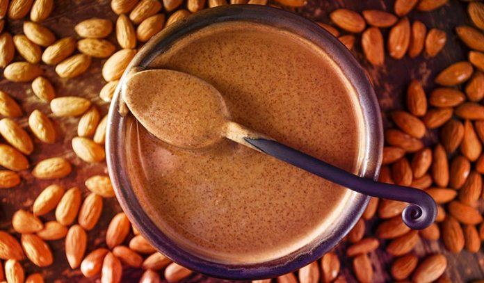 One-fourth of a cup of almond butter is equivalent to one egg