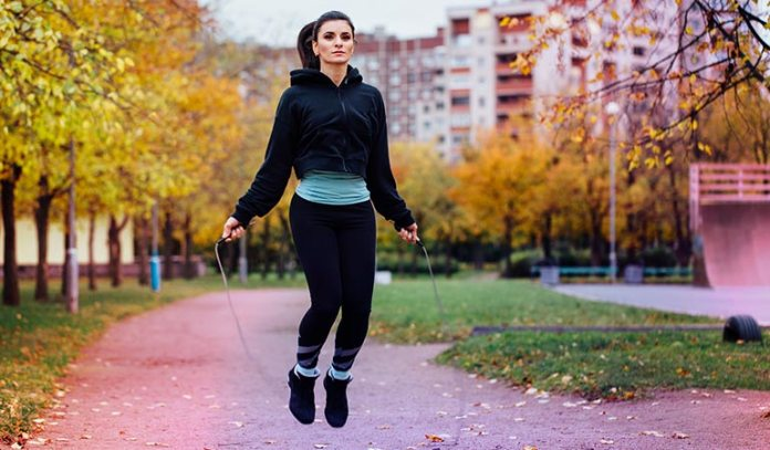 Jump rope is a form of cardio exercise that shreds back fat and improves leg muscles.)