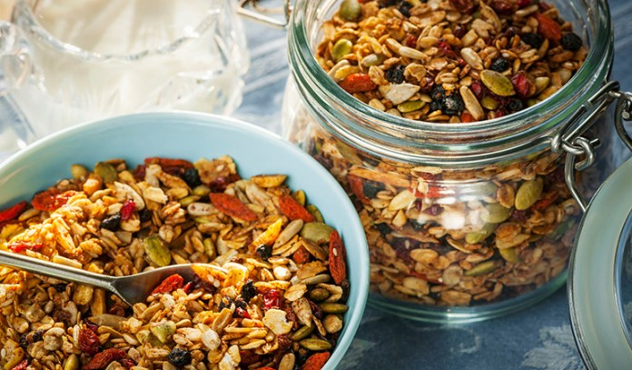 Granola is healthy with whole grains but unhealthy with sugars