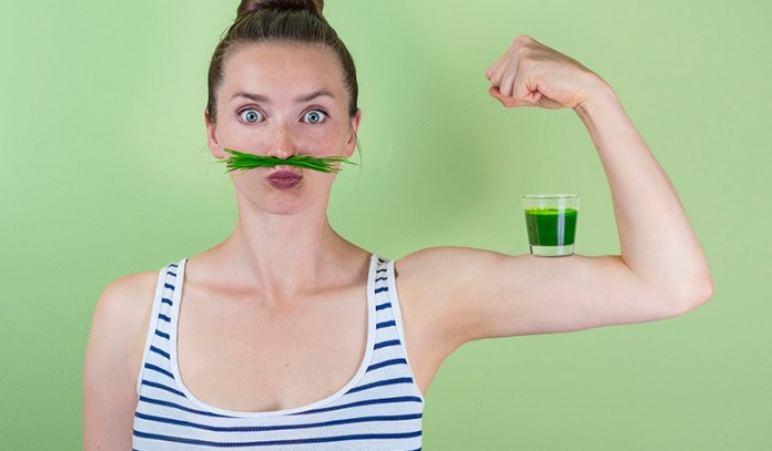 Drinking wheatgrass juice helps to counteract body odor