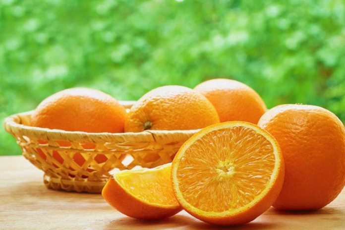 Oranges are high in Vitamin C.