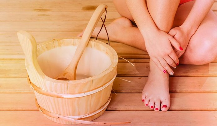 (Use a bucket of hot and cold water each to dip the feet