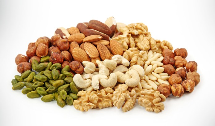 Nuts contain healthy fats and zinc