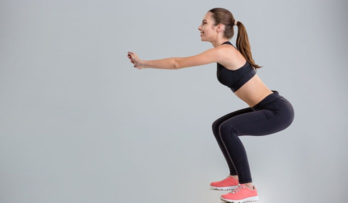 Squats build strength in the legs and hips.