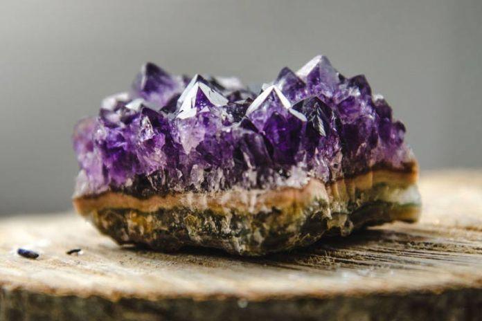 amethyst crystal in the bath