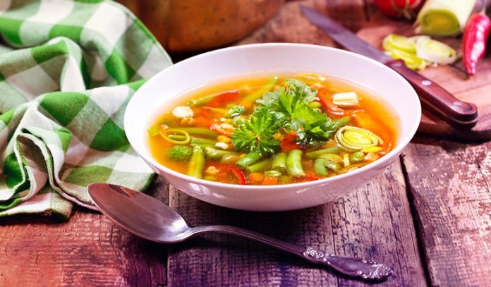 Add green vegetables to your soup