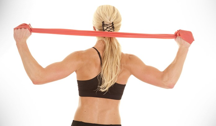 Band lat exercise tones your biceps and back