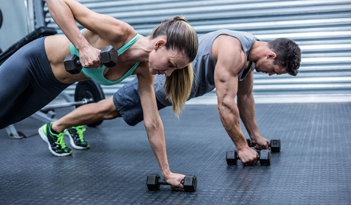 Plank rows strengthen your core and glutes