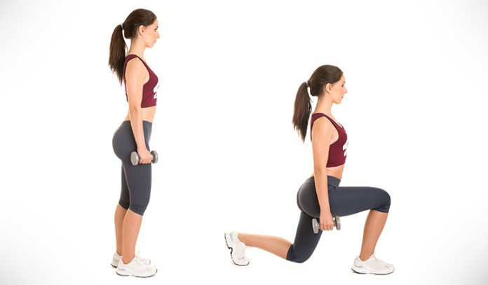 Dumbbell lunges give a burst of energy to the lower bo