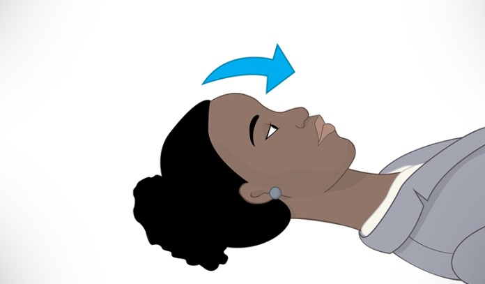 Head nod exercise promotes neck stability.