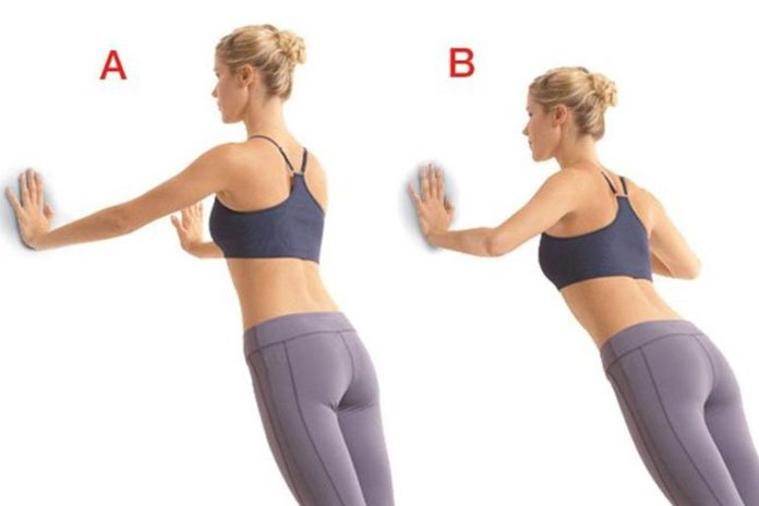 Wall pushups are easy to do and increase bust size.