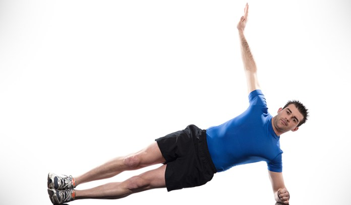 Side-planks are a good way to challenge your body's stability centers and initiate abdominal muscle contraction.