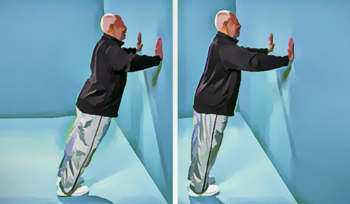 Wall push helps to stretch the calf muscles.