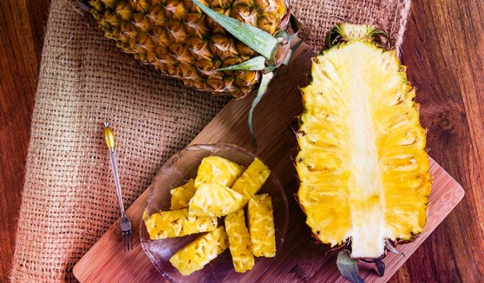 Ripe pineapples are golden brown all over
