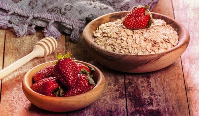 The fruity mask uses strawberries, papaya, oatmeal, and honey.