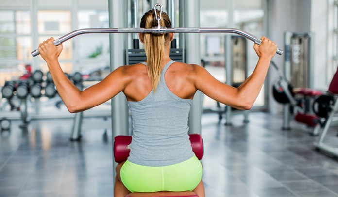 Behind-the-neck lat pull down causes injuries.