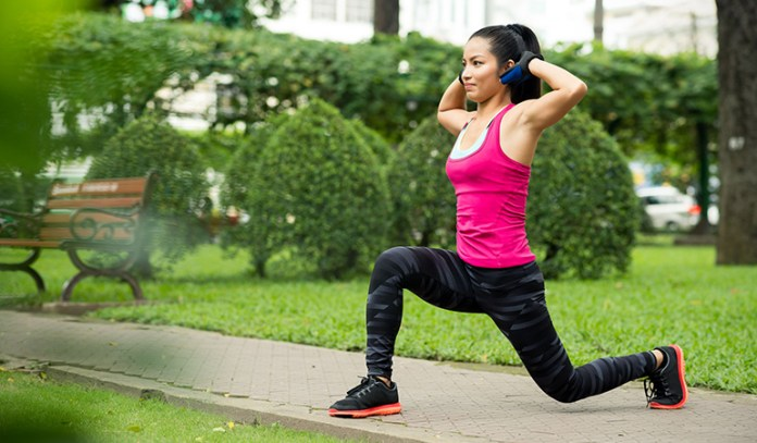 Do forward lunges to burn fat in your ab and hip regions