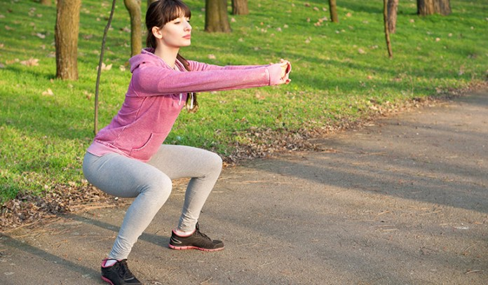 Jump squats strengthen legs and hips.